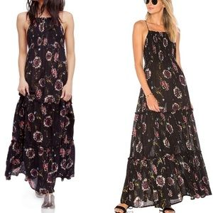Free People Garden Party Black Floral Maxi Dress